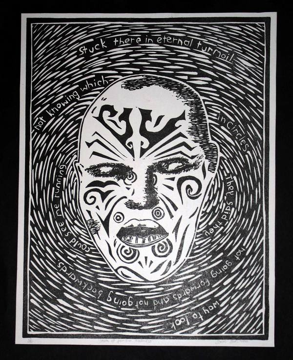 Linoleum Print Designs warrior face