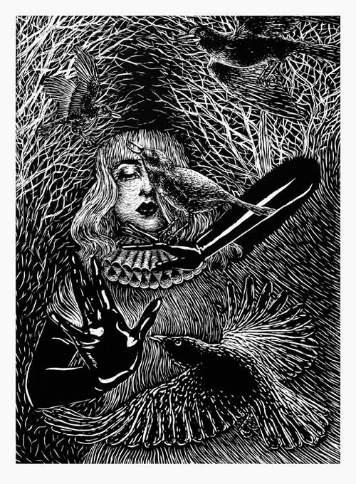 Linoleum Print Designs Selfportrait with crows